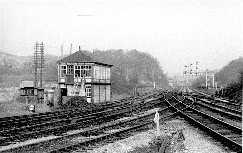 Ambergate North Junction signal box viewed from the north end of Ambergate Station looking toward Crich Juncton