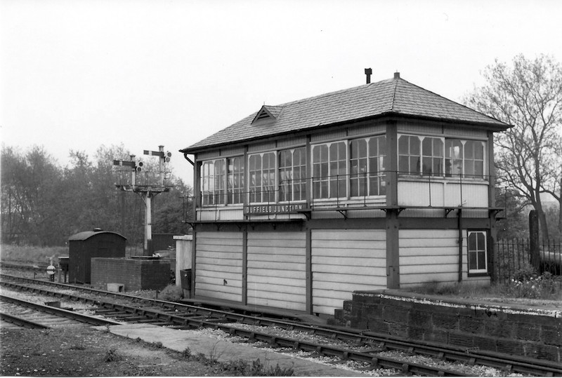 Duffield Junction signal box taken from the island platform looking at the front of the box